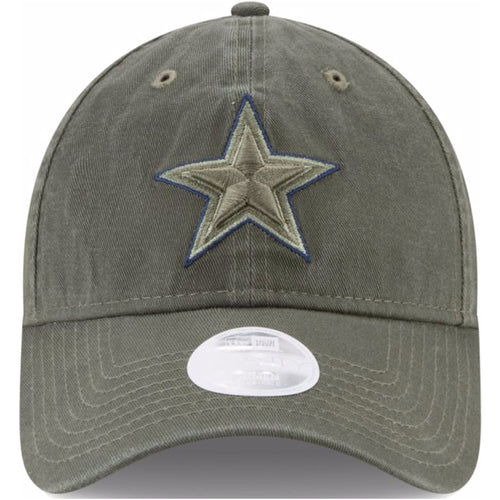on the front of the dallas cowboys salute to service women's dad hat, the cowboys star is embroidered in olive green with a black outline