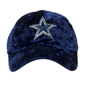 Embroidered on the front of the velour navy blue Dallas Cowboys women's cap is a Dallas Cowboys logo embroidered in navy blue and white