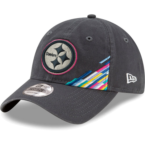 Embroidered on the front of the Pittsburgh Steelers 2019 Crucial Catch Sideline 9Twenty Dad Hat is the Pittsburgh Steelers logo with pink trim