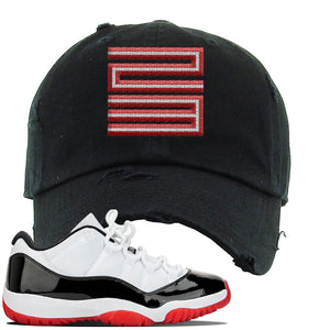 Jordan 11 Low White Black Red Sneaker Black Distressed Dad Hat | Hat to match Nike Air Jordan 11 Low White Black Red Shoes | Jordan 11 23