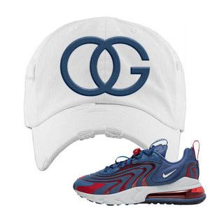 Air Max 270 React ENG Mystic Navy Distressed Dad Hat | OG, White