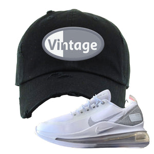 Air Max 720 Utility White Distressed Dad Hat | Black, Vintage Oval