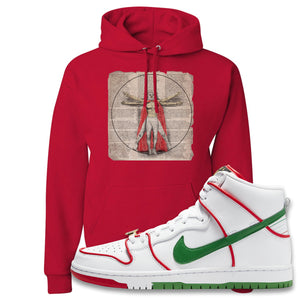 Paul Rodriguez's Nike SB Dunk High Sneaker Red Pullover Hoodie | Hoodie to match Paul Rodriguez's Nike SB Dunk High Shoes | Luchador Davinci