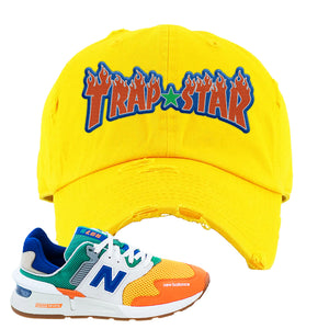 997S Multicolor Sneaker Yellow Distressed Dad Hat | Hat to match New Balance 997S Multicolor Shoes | Trap Star