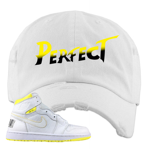 Air Jordan 1 First Class Flight Street Fight Perfect White Sneaker Matching Distressed Dad Hat