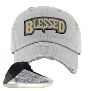 Yeezy Quantum Distressed Dad Hat | Light Gray, Blessed Arch