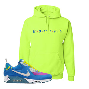 Undefeated x Air Max 90 Pacific Blue Sneaker Safety Green Pullover Hoodie | Hoodie to match Undefeated x Nike Air Max 90 Pacific Blue Shoes | Homies
