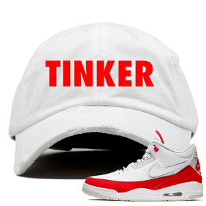 This white and red dad hat will match great with your Jordan 3 Tinker Air Max shoes