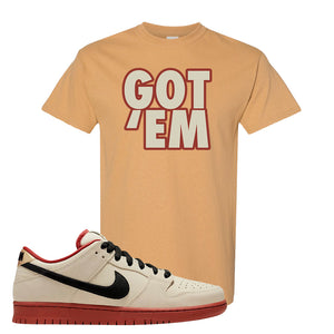 SB Dunk Low Muslin T Shirt | Got Em, Old Gold