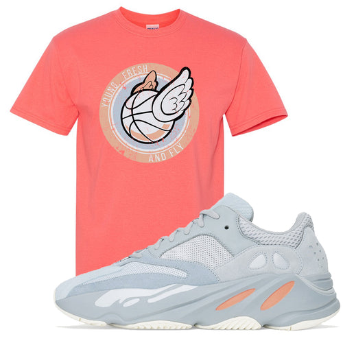 Yeezy Boost 700 Inertia Young Fresh and Fly Sneaker Matching Coral Silk Tee Shirt