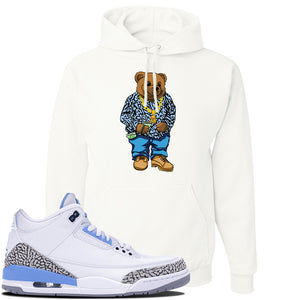 Jordan 3 UNC Sneaker White Pullover Hoodie | Hoodie to match Nike Air Jordan 3 UNC Shoes | Sweater Bear