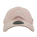 Embroidered on the front of the pink black label New York Yankees dad hat is the New York Yankees logo in white