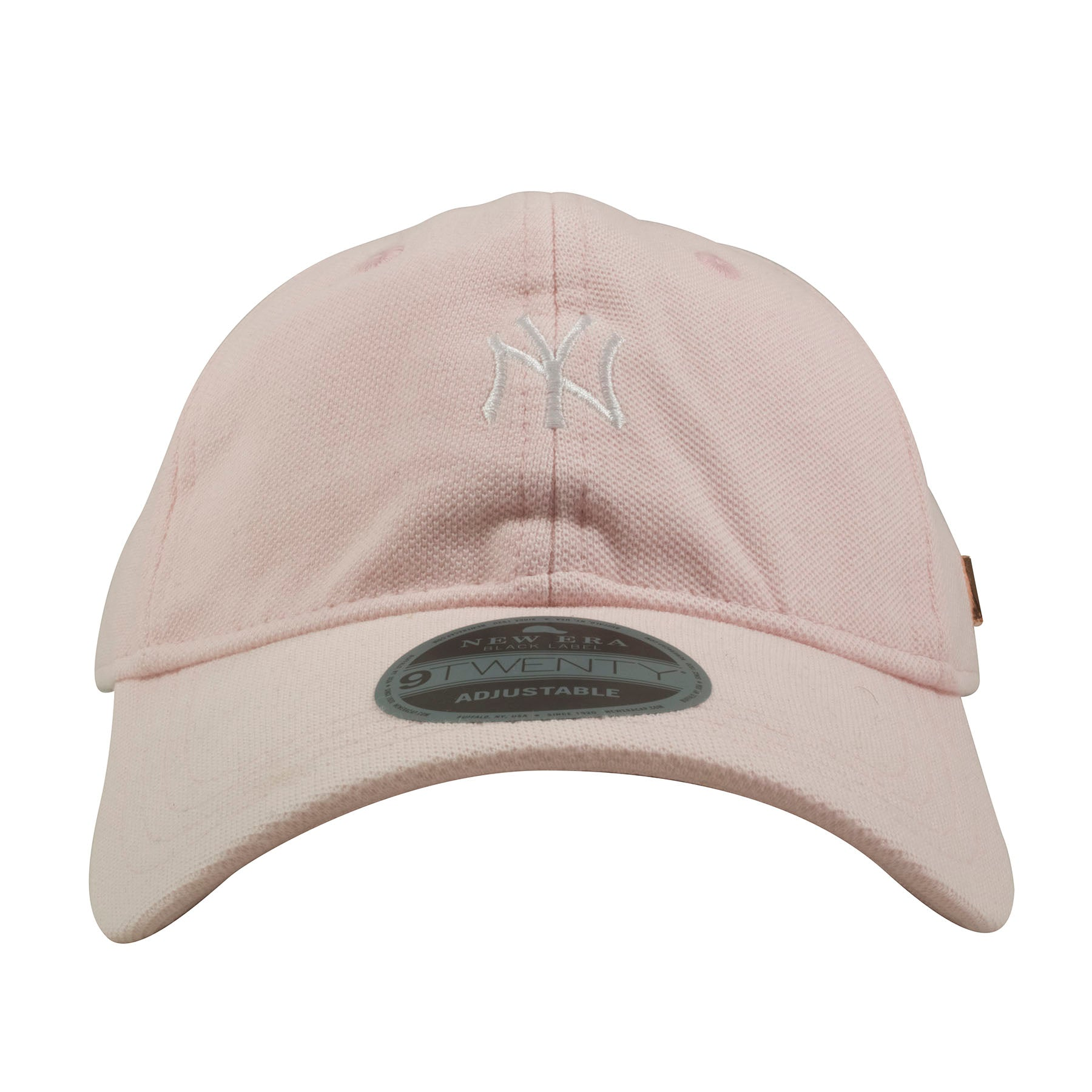 Embroidered on the front of the pink black label New York Yankees dad hat  is the 5b0af93cb33e