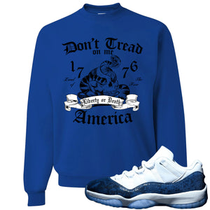 Jordan 11 Low Blue Snakeskin Don't Tread On Me Snake Royal Blue Crewneck Sweater