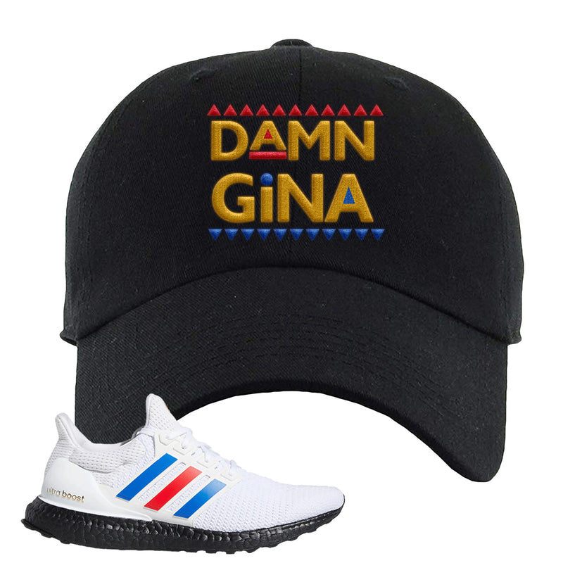 Ultra Boost White Red Blue Dad Hat | Black, Damn Gina