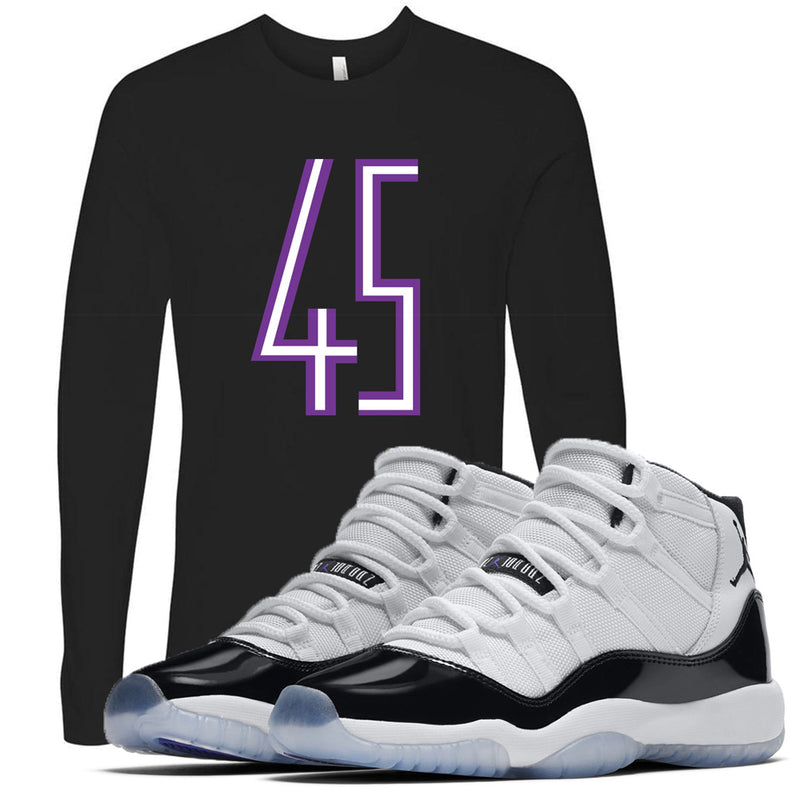 The Jordan 11 Concord 45 sneaker matching longsleeve pairs perfectly with the Jordan 11 Concord sneakers