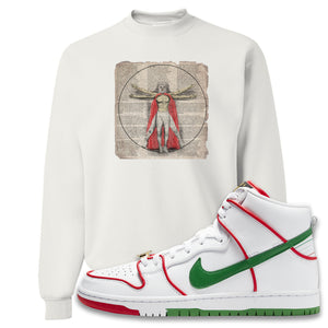 Paul Rodriguez's Nike SB Dunk High Sneaker White Crewneck Sweatshirt | Crewneck to match Paul Rodriguez's Nike SB Dunk High Shoes | Luchador Davinci