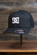 the Dark Gray Bentbrim Skater Hat | DC Shoes Black Bottom Heather Gray Flexfit Cap has a bent brim and heather gray fabric