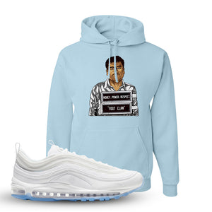 Air Max 97 White/Ice Blue/White Sneaker Light Blue Pullover Hoodie | Hoodie to match Nike Air Max 97 White/Ice Blue/White Shoes | EL Chapo Illustration