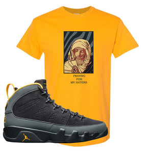 Air Jordan 9 Charcoal University Gold T Shirt | God Told Me, Gold