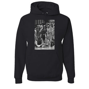 Iverson Step Over Pullover Hoodie | Allen Iverson Step Over Black Pull Over Hoodie the front of this step over hoodie is the picture of Iverson stepping over Ty Lue