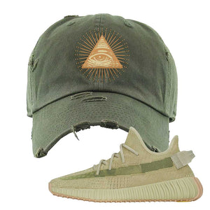 Yeezy 350 v2 Sulfur Distressed Dad Hat | Olive, All Seeing Eye