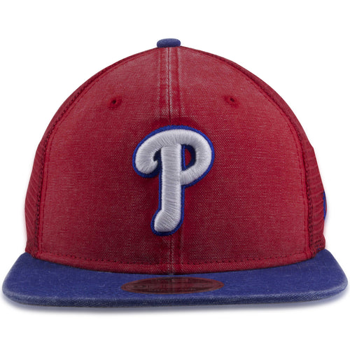 more photos a5d0c b53c4 Philadelphia Phillies Vintage Rugged Wash Mesh Red on Blue 9Fifty Trucker Snapback  Hat