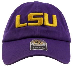 embroidered on the front of the Louisiana state university dad hat is the LSU logo in yellow