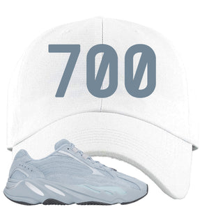 Yeezy Boost 700 V2 Hospital Blue 700 Sneaker Matching White Dad Hat