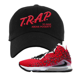 Lebron 17 Uptempo Dad Hat | Black, Trap To Rise Above Poverty