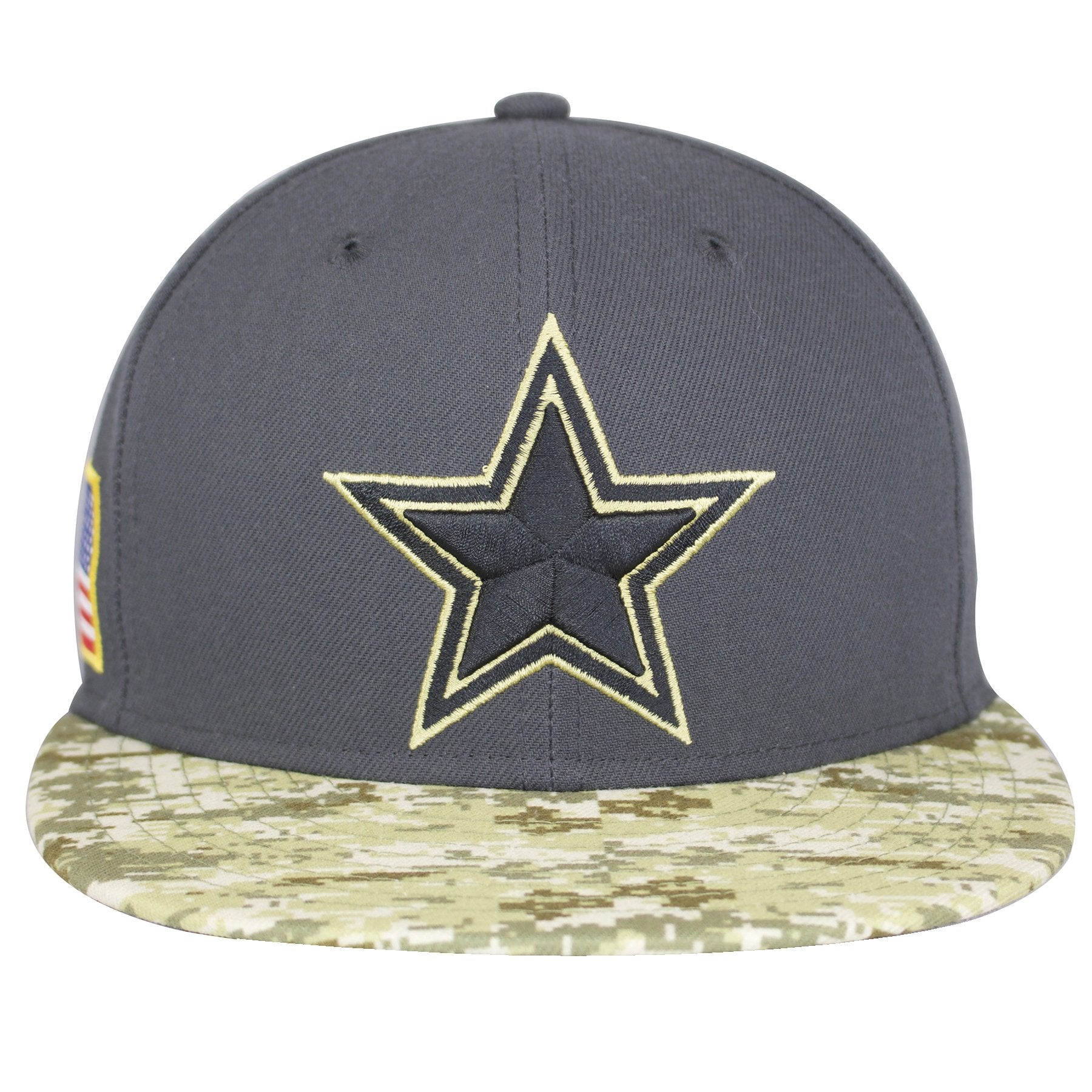the dallas cowboys 2016 salute to service fitted cap has a gray crown and a  digital 63d757f41