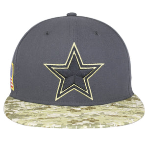 the dallas cowboys 2016 salute to service fitted cap has a gray crown and a digital camouflage flat brim