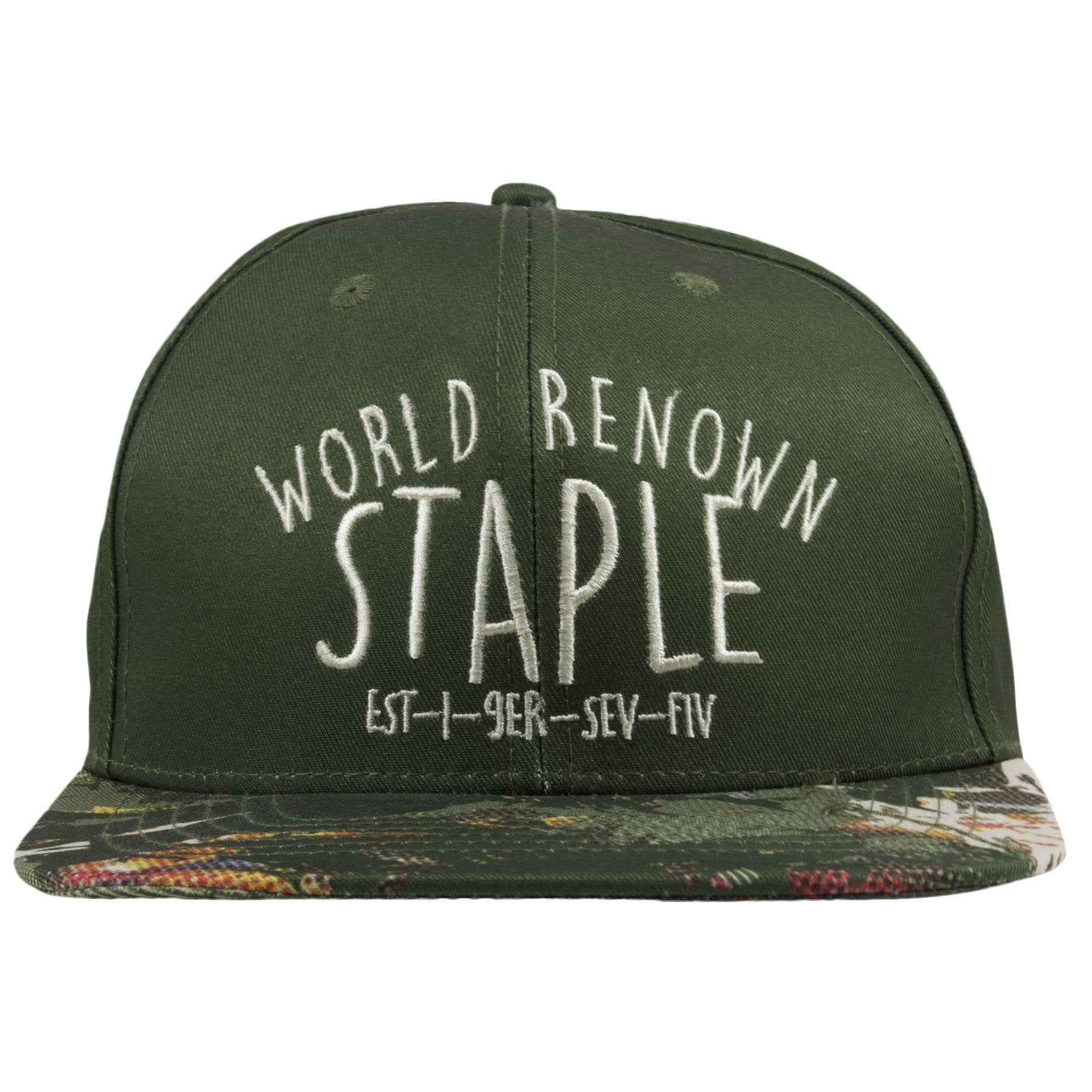 The front of this Camo Staple Snapback hat shows a script of World Renown  Staple embroidered 8e3361495ea