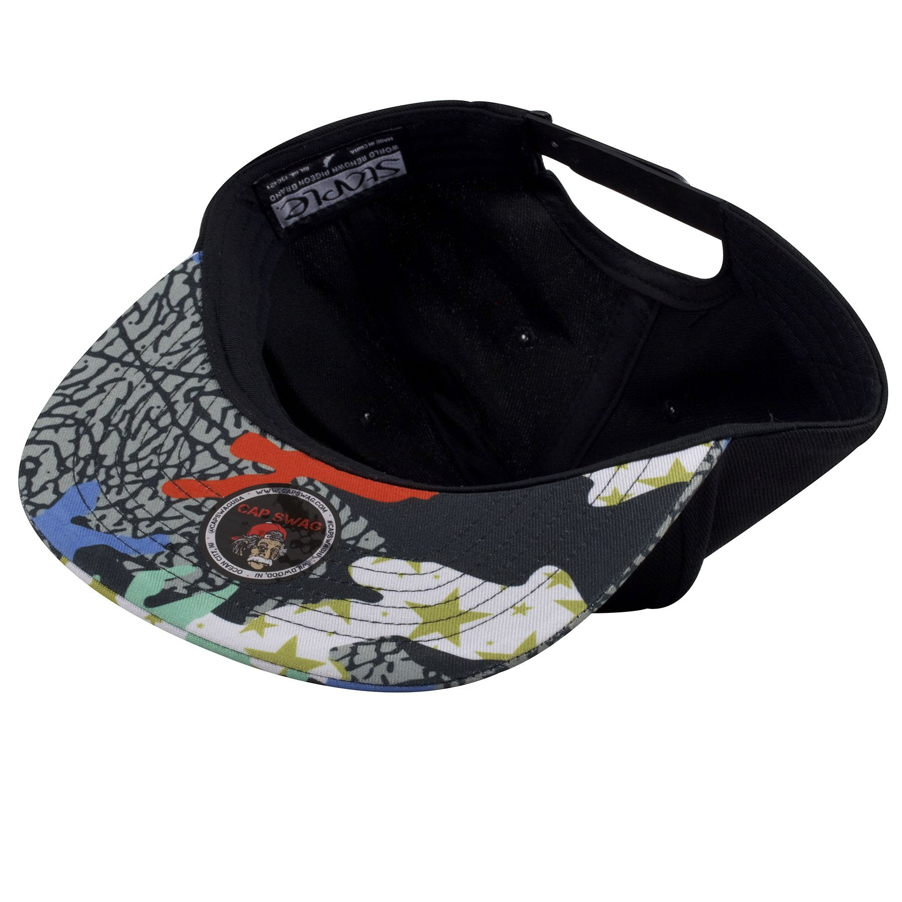 Underneath the bill of this streetwear fashion snapback hat shows a  multi-design pattern from 1fd8fb0f184