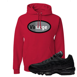 Air Max 95 Essential Black/Dark Grey/Black Sneaker Red Pullover Hoodie | Hoodie to match Nike Air Max 95 Essential Black/Dark Grey/BlackShoes | Vintage Oval