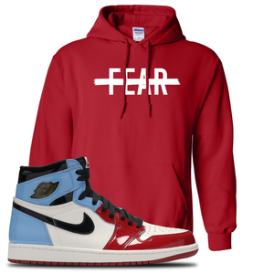 Air Jordan 1 Fearless Fear Crossed Out Red Made to Match Pullover Hoodie