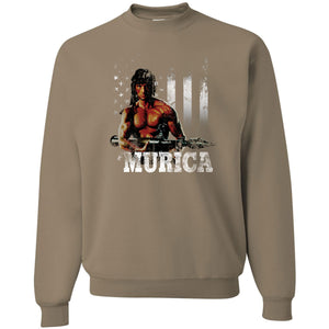 Standard Issue Distressed Rambo with American Flag Safari Grunt Life Crewneck Sweater