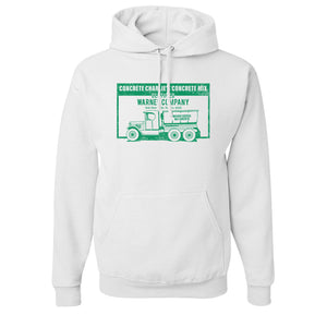 Concrete Charlie's Pullover Hoodie | Chuck Bednarik's Concrete Mix White Pull Over Hoodie the front of this hoodie has the concrete company