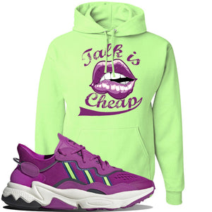 Ozweego Vivid Pink Sneaker Neon Green Pullover Hoodie | Hoodie to match Adidas Ozweego Vivid Pink Shoes | Talk is Cheap
