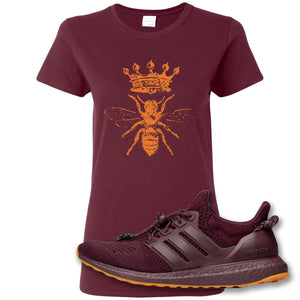 Royal Bee Crest Maroon Women's T-Shirt to match Ivy Park X Adidas Ultra Boost Sneaker