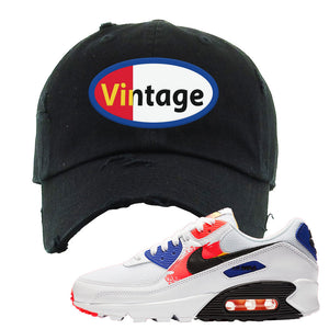 Air Max 90 Paint Streaks Distressed Dad Hat | Vintage Oval, Black