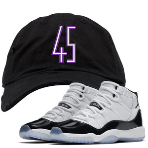 Match your pair of Jordan 11 Concords with this Jordan Concord 45 sneaker matching distressed dad hat