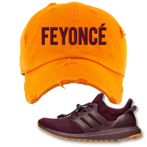 Feyonce Orange Distressed Dad Hat to match Ivy Park X Adidas Ultra Boost Sneaker