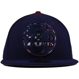 Philadelphia 76ers American Flag Fill Navy Blue 9Fifty New Era Snapback Hat