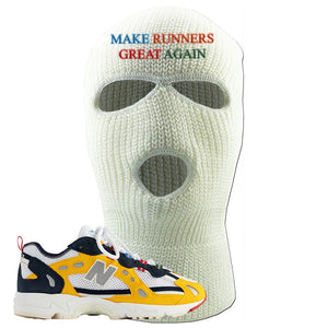827 Abzorb Multicolor Yellow Aime Leon Dore Sneaker White Ski Mask | Winter Mask to match 827 Abzorb Multicolor Yellow Aime Leon Dore Shoes | Make Runners Great Again Basic