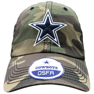 Embroidered on the front of the woodland camouflage dad hat is the Dallas cowboys logo embroidered in navy blue and white