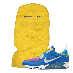 Undefeated x Air Max 90 Pacific Blue Sneaker Safety Yellow Ski Mask | Winter Mask to match Undefeated x Nike Air Max 90 Pacific Blue Shoes | Homies