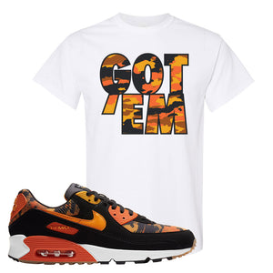 Air Max 90 Orange Camo T Shirt | Got Em, White