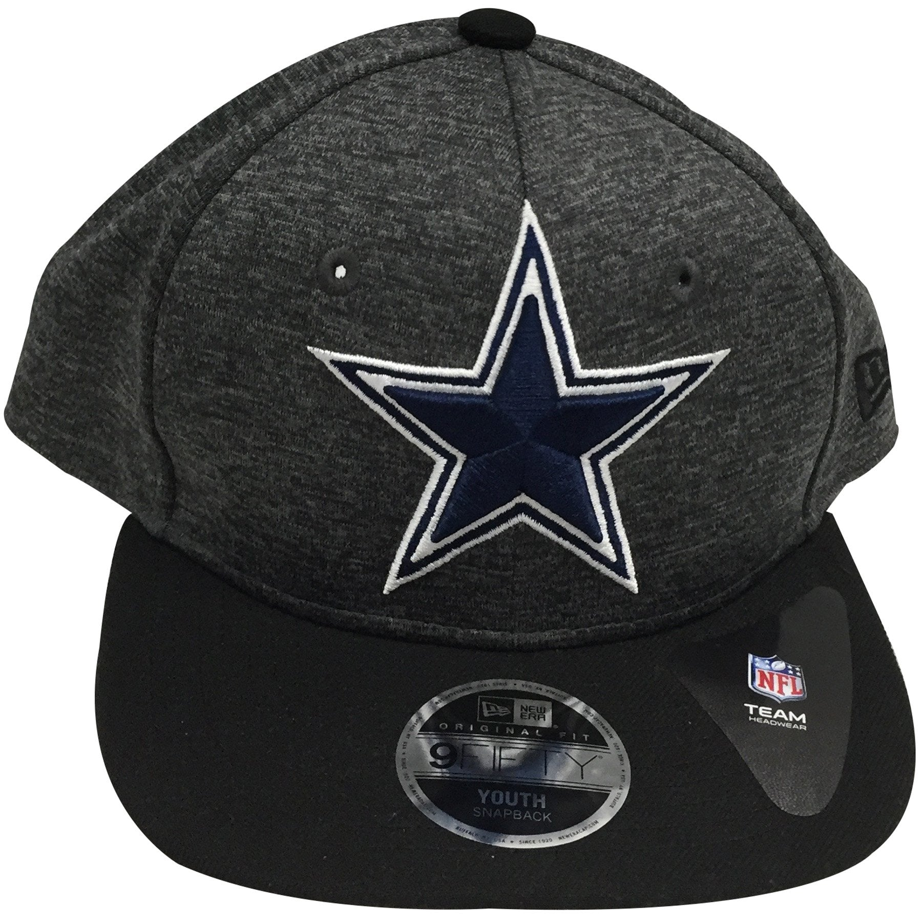 8b643b08e the kid's sized heather gray dallas cowboys snapback hat has a heather gray  crown, black