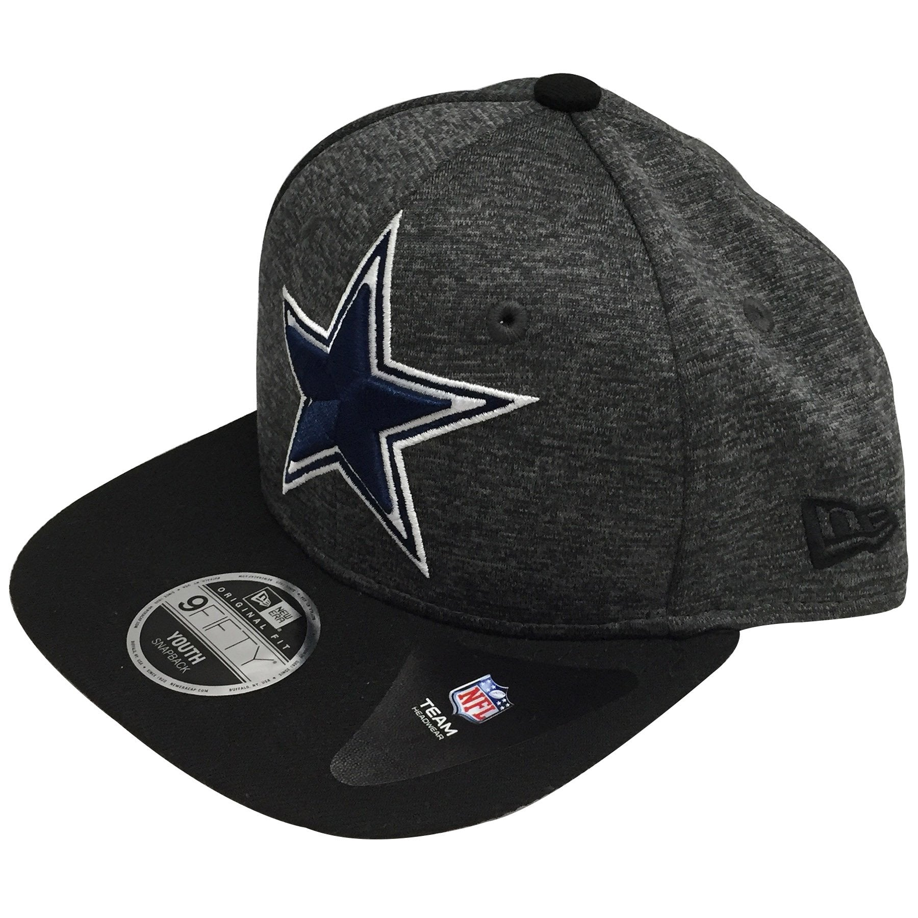 ... black  the kid s sized dallas cowboys sideline snapback hat has a high  structured heather gray crown and ... 637c54acba0